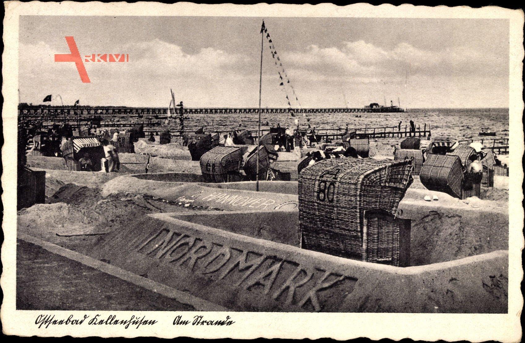 Kellenhusen, Ostseebad, Am Strande, Strandkörbe, Nordmarkt, Fahne