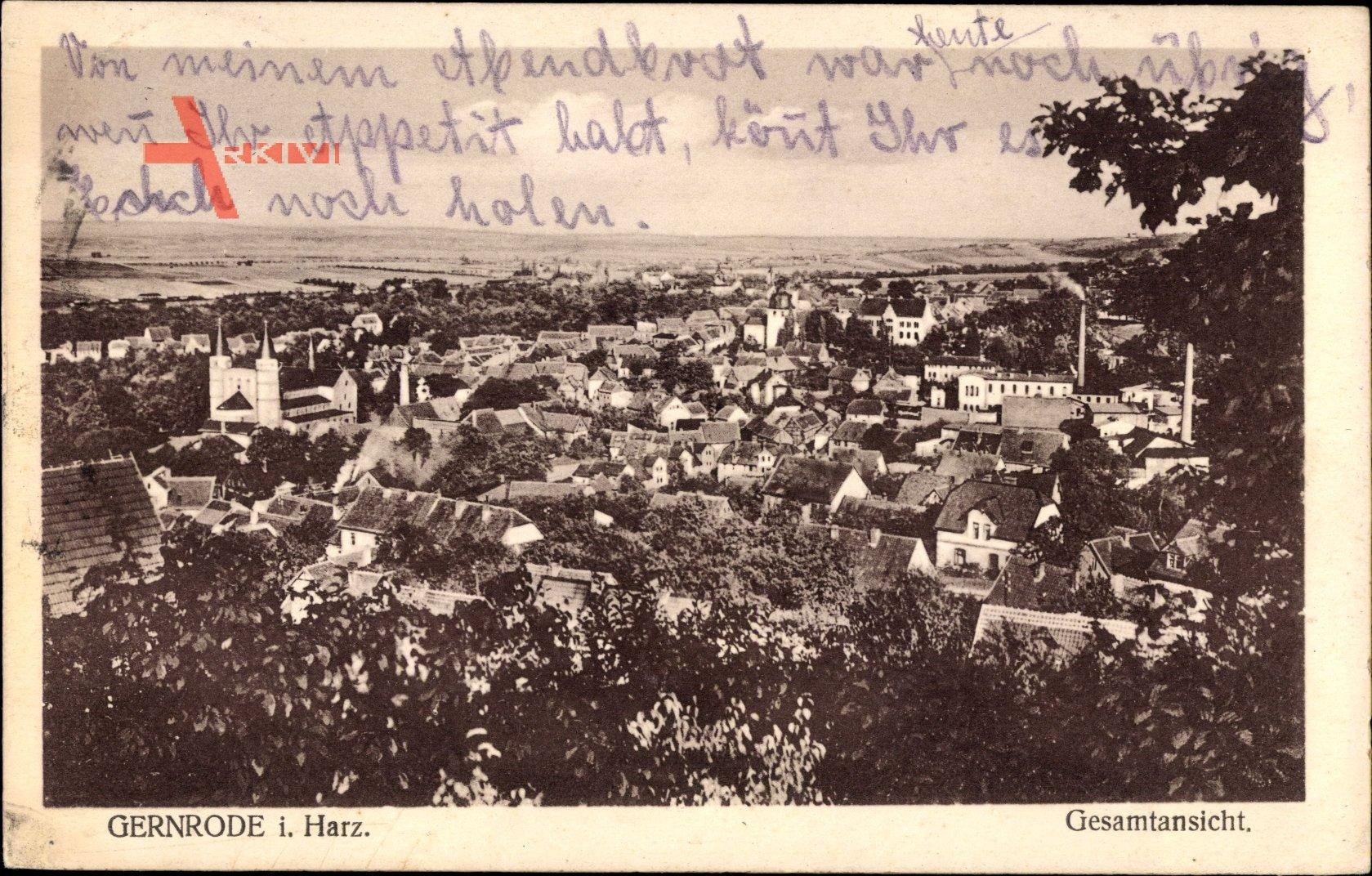 Gernrode im Harz, Gesamtansicht der Ortschaft, Kirche, Felder