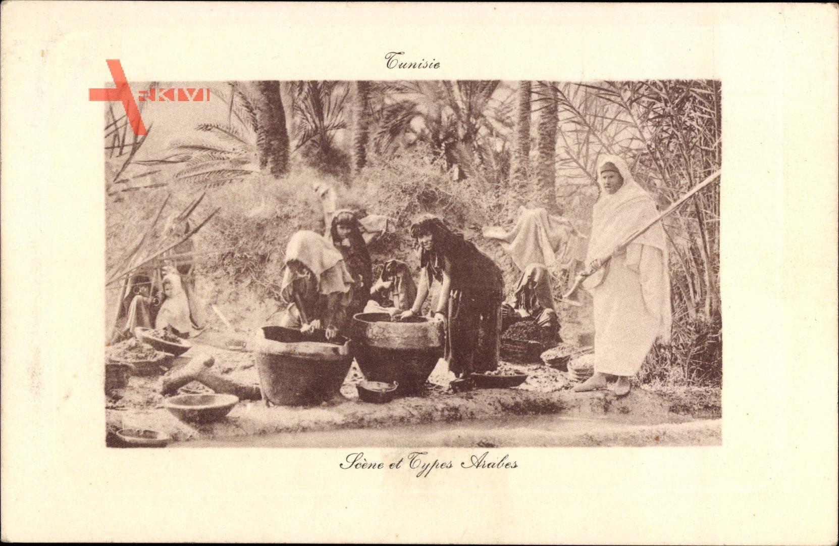Tunesien, Scène et Types Arabes, Tunesierinnen bei der Arbeit