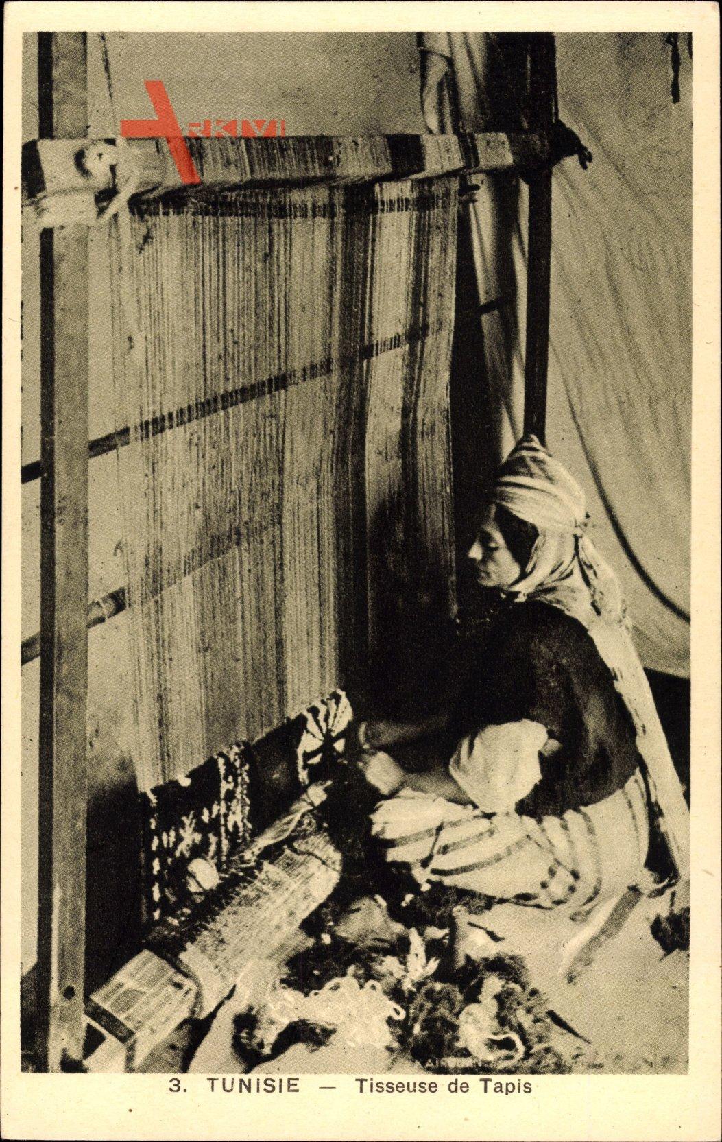 Tunesien, Tisseuse de Tapis, Teppichweberin bei der Arbeit
