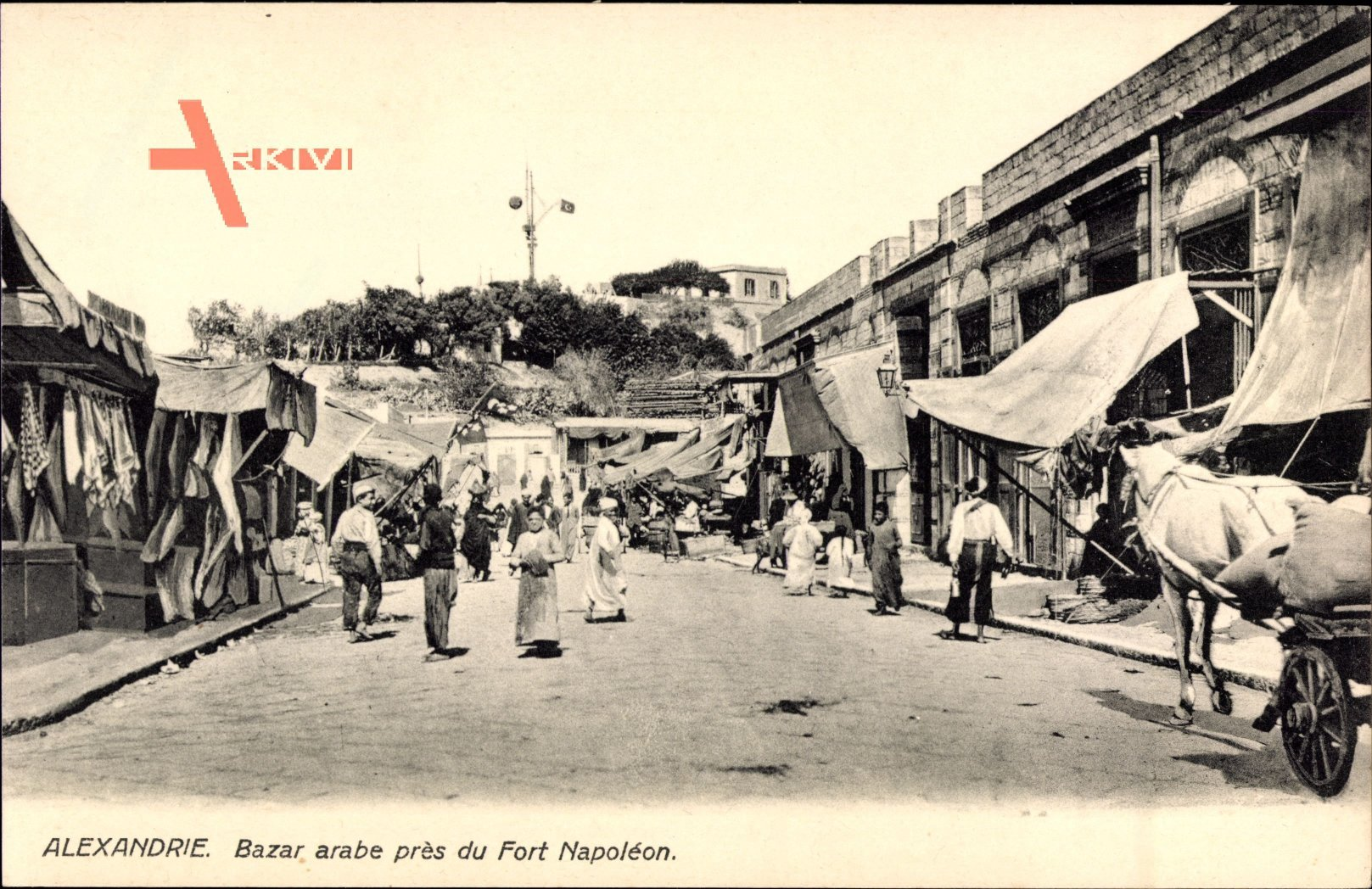 Alexandria Ägypten, Bazar arabe pres du Fort Napoleon, Kutsche, Einheimische