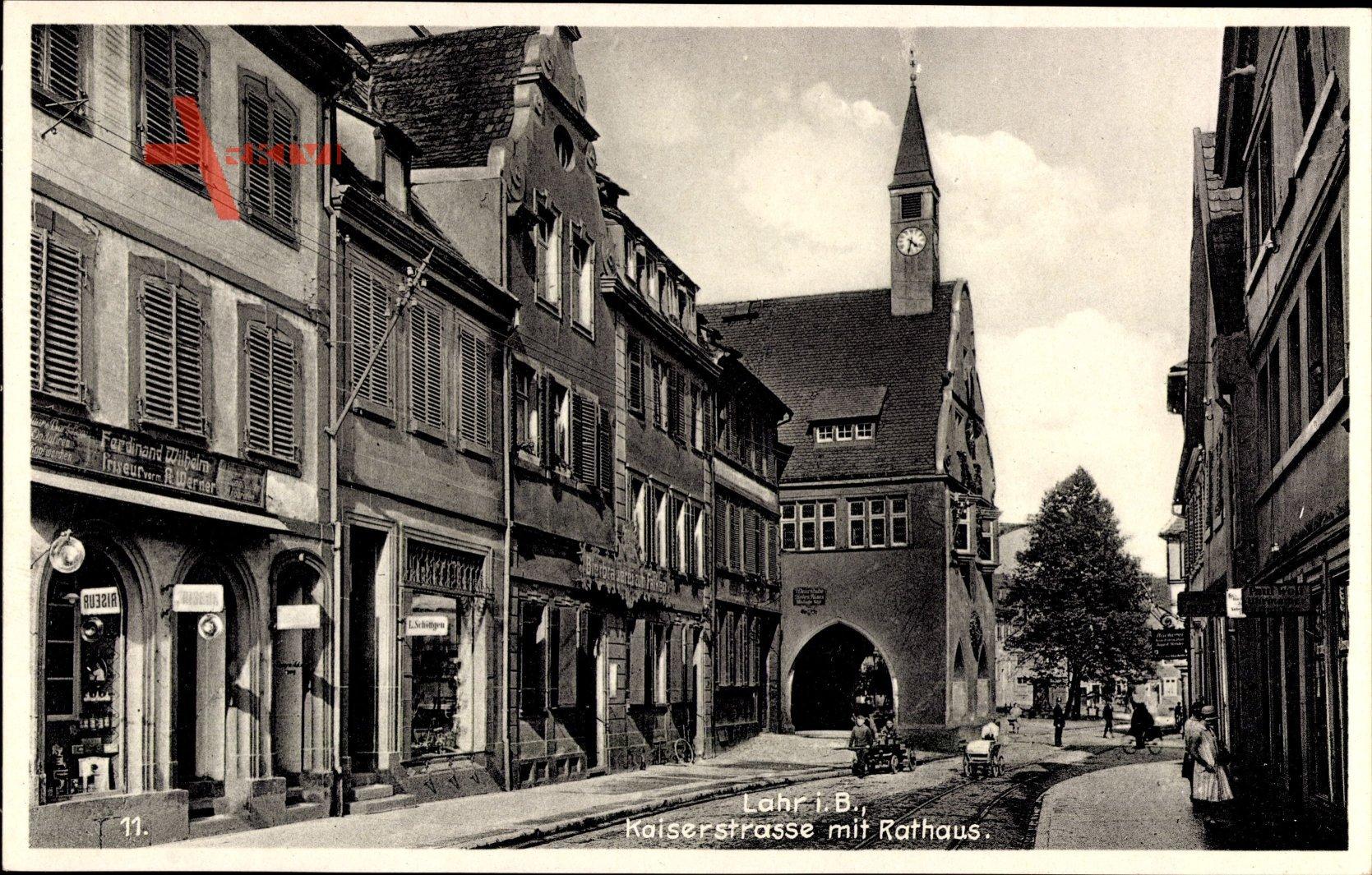 Lahr Im Schwarzwald Ortenaukreis Kaiserstrasse Mit Rathaus Friseur