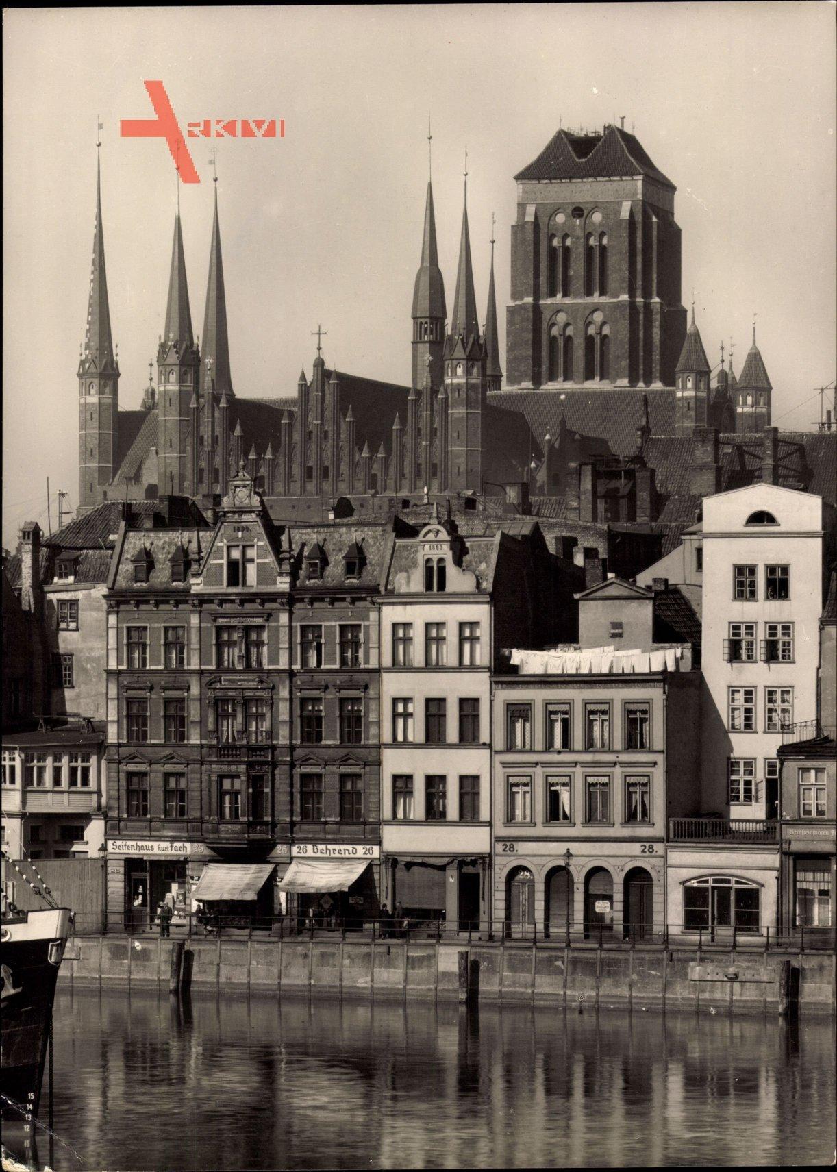 Gdańsk Danzig, Lange Brücke mit Marienkirche, Seifenhaus Kurt Fach, Behrend
