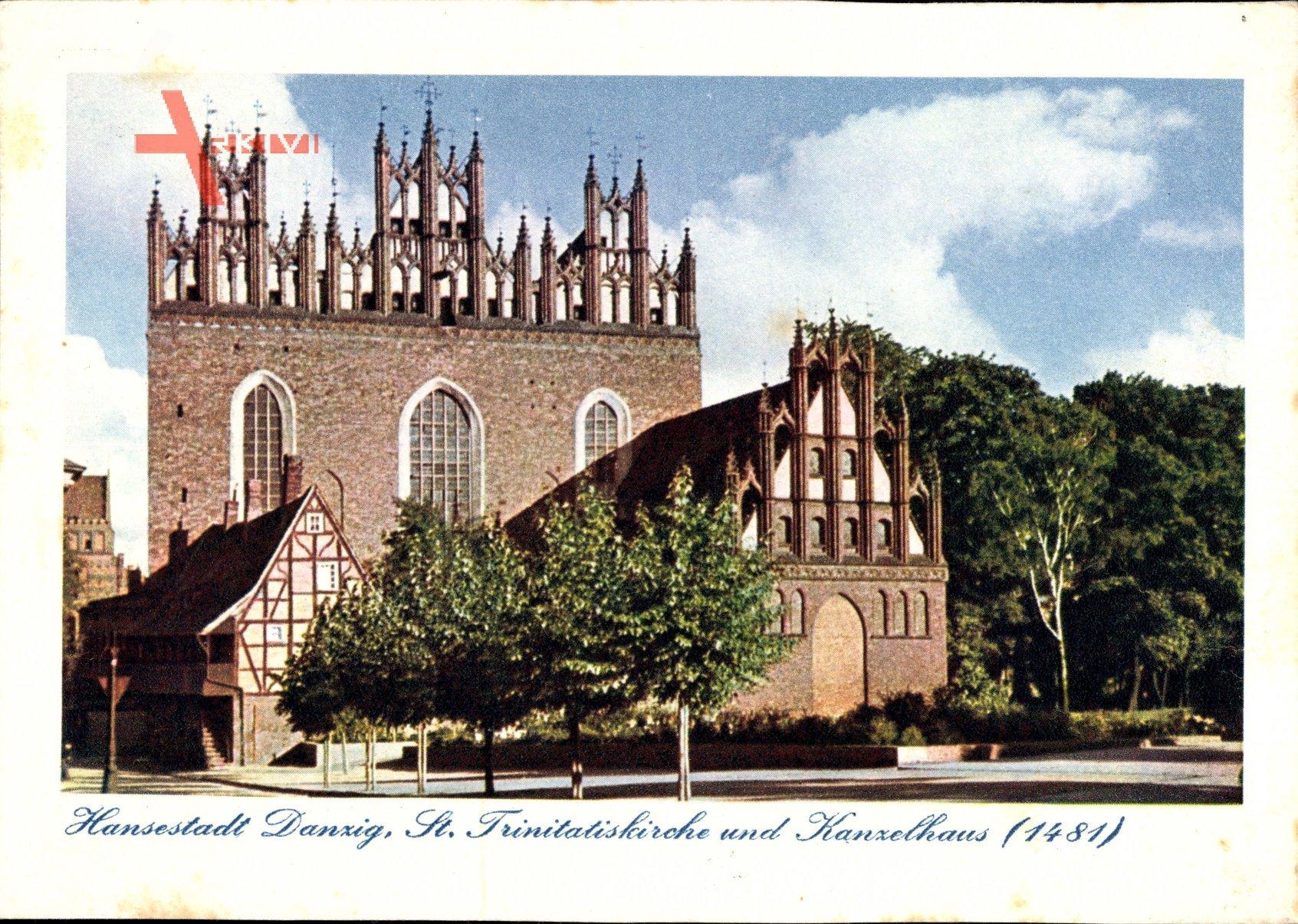 Gdańsk Danzig, St. Trinitatiskirche und Kanzelhaus, 1481, Giebel