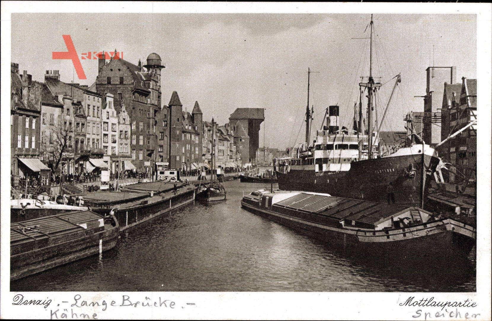 Gdańsk Danzig, Lange Brücke, Mottlaupartie, Krantor, Sternwarte, Lastkähne