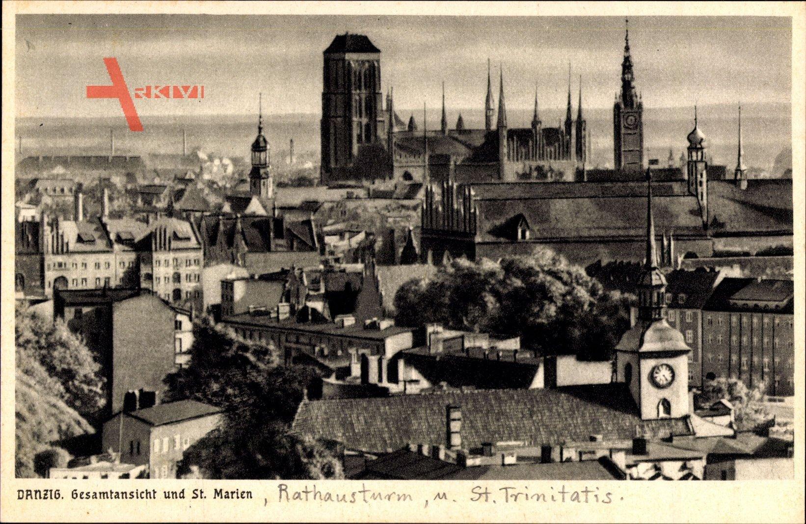 Gdańsk Danzig, Gesamtansicht und Kirche St. Marien, Rathausturm