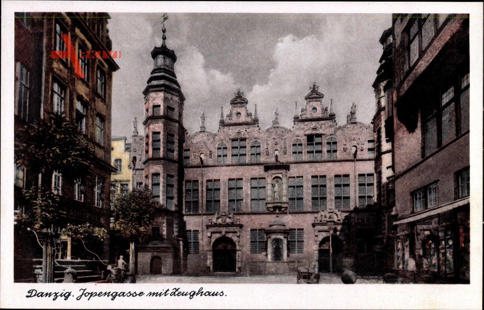Gdańsk Danzig, Blick in die Jopengasse mit Zeughaus, Fassade, Tor
