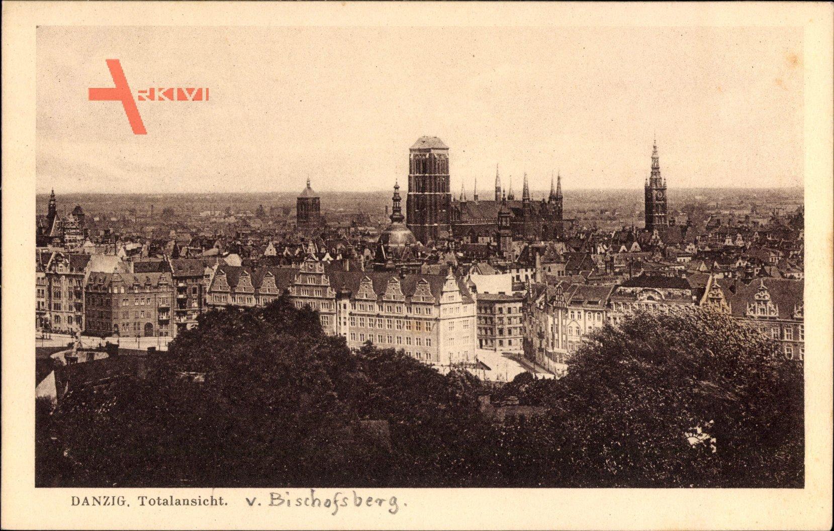 Gdańsk Danzig, Totalansicht der Ortschaft vom Bischofsberg, St. Marienkirche