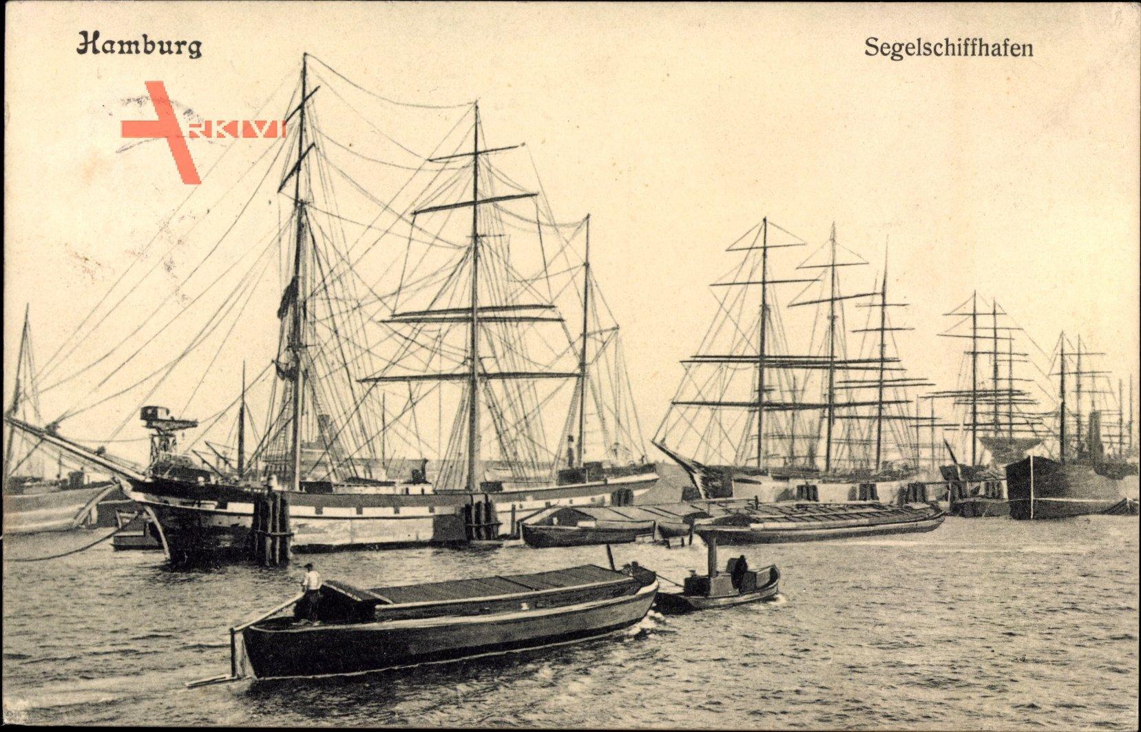 Hamburg, Liegende Segelschiffe im Segelschiffhafen