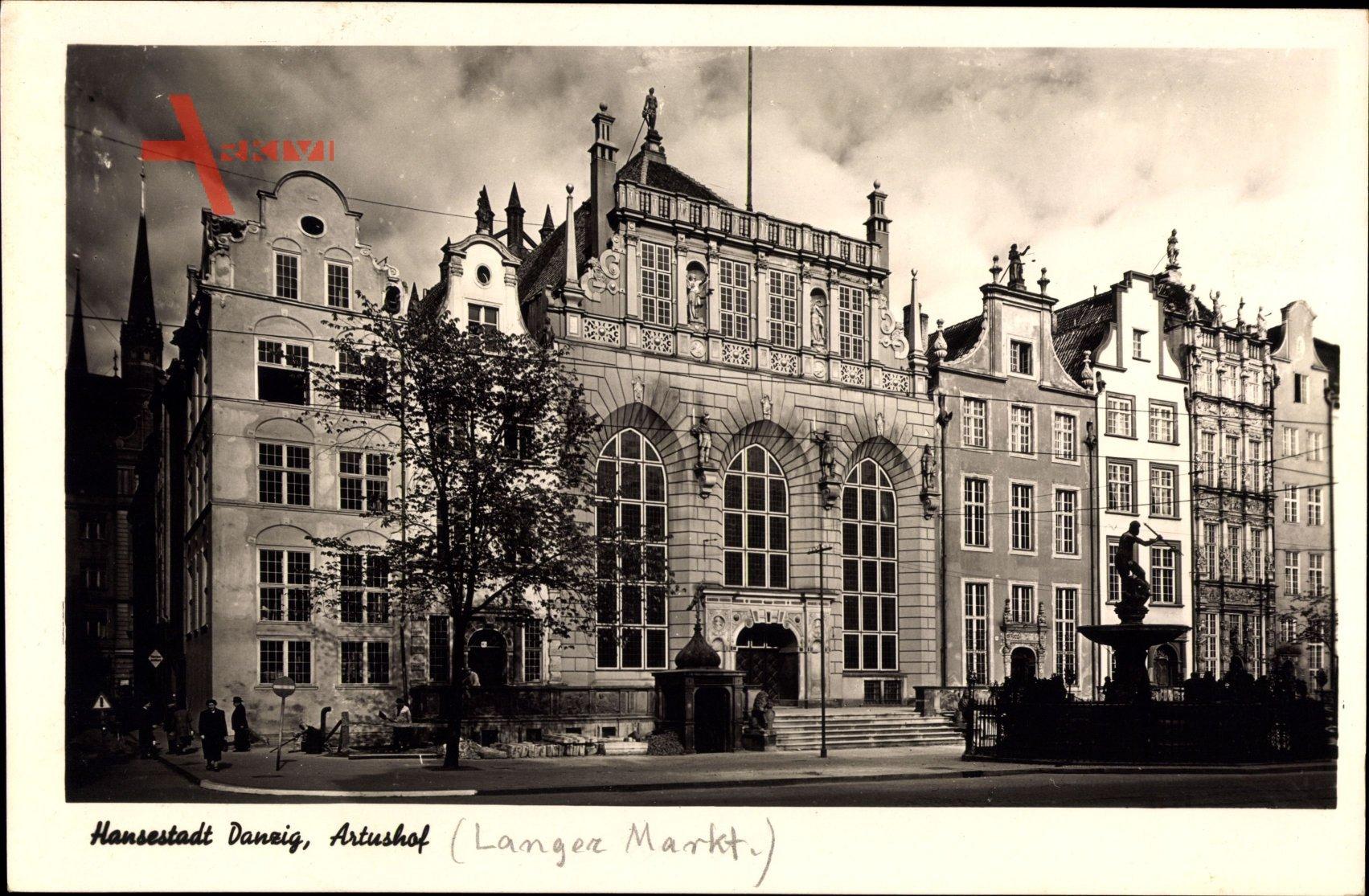 Gdańsk Danzig, Ansicht vom Artushof, Eingangsfront, Langer Markt