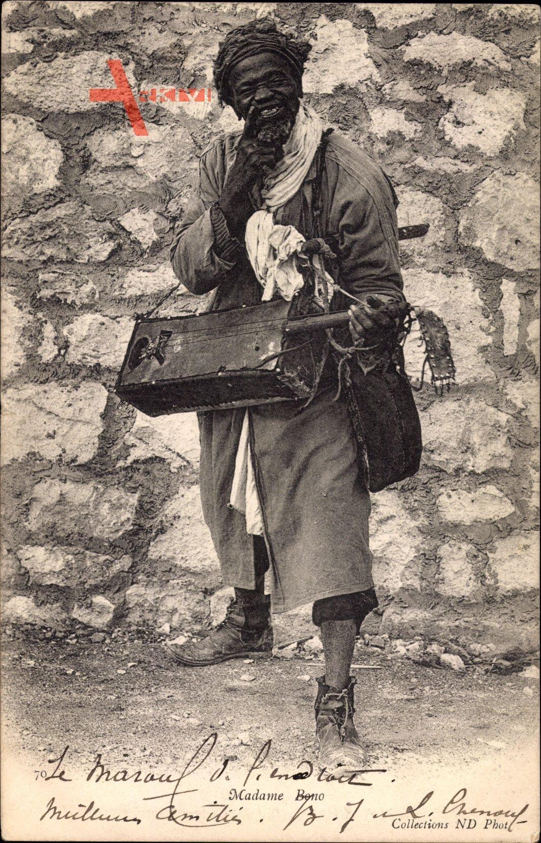 Algerien, Madame Bono, Algerischer Musiker, Zupfinstrument, Neurdein