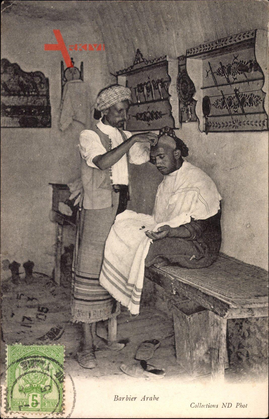 Barbier Arabe, Mann beim Friseur, Maghreb, Neurdein Frères N.D.