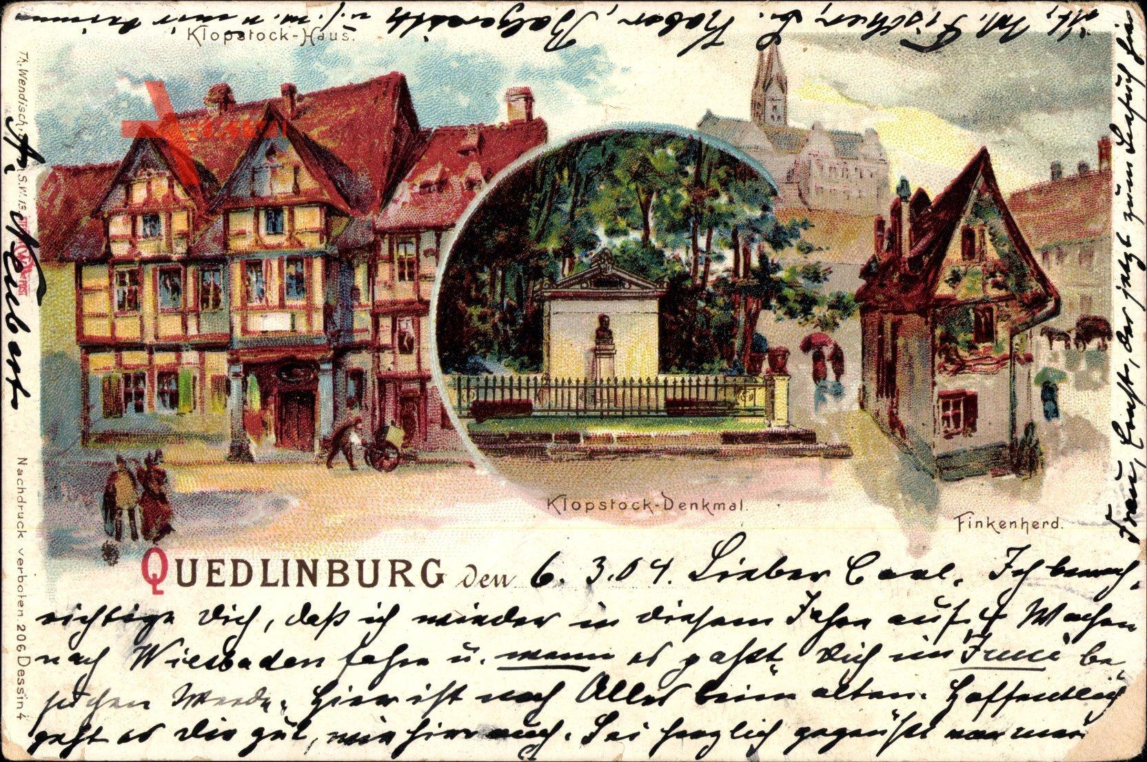 Quedlinburg im Harz, Klopstock Denkmal, Finkenherd, Klopstock Haus