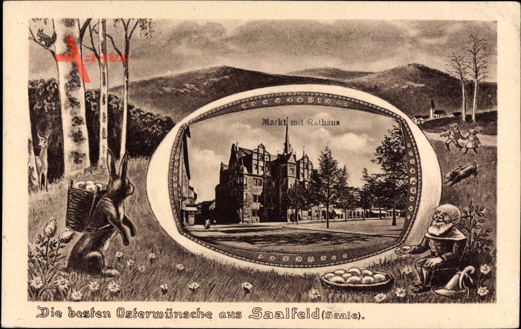 Saalfeld an der Saale Thüringen, Glückwunsch Ostern, Rathaus, Zwerg, Hase