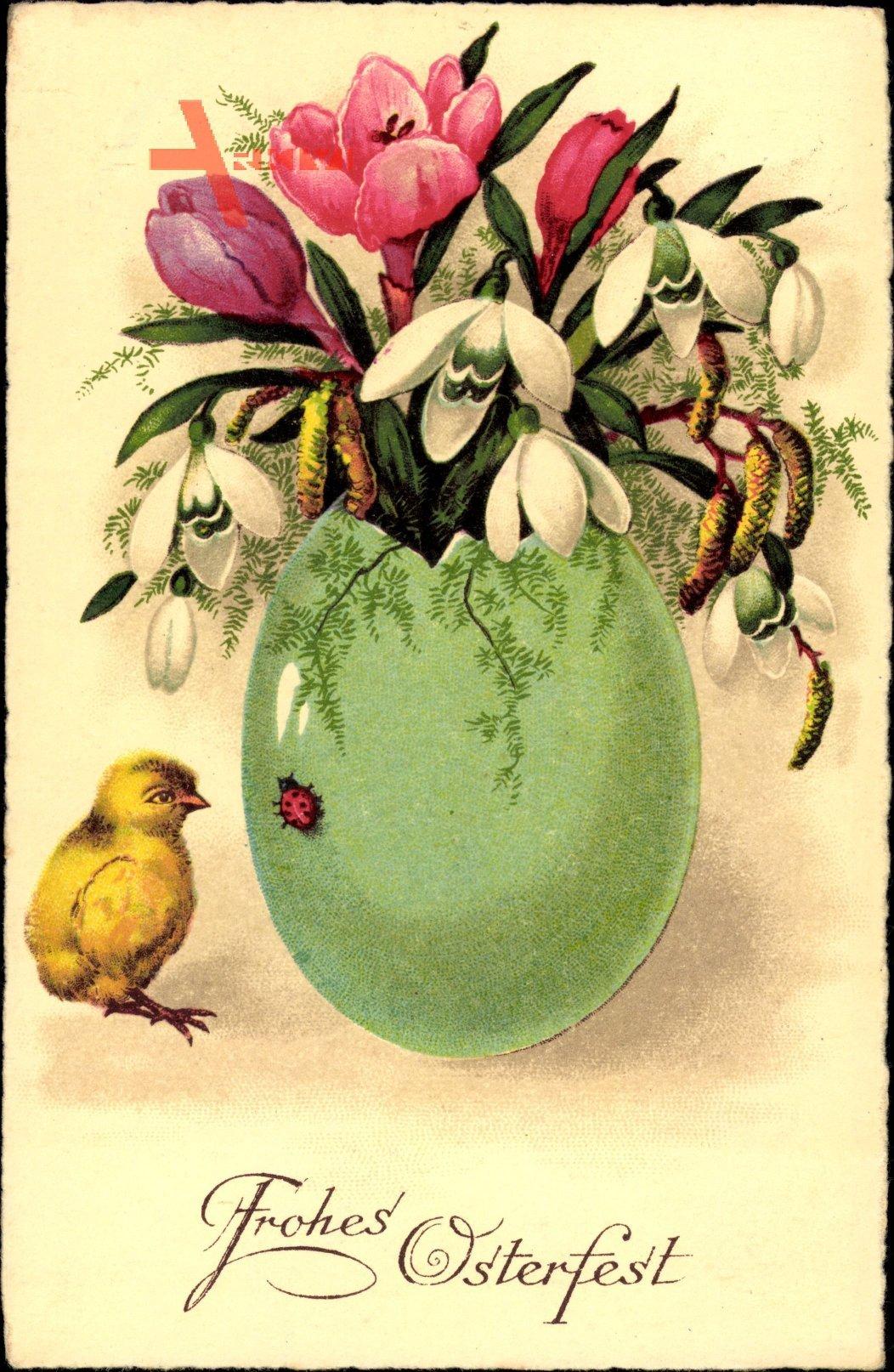 Glückwunsch Ostern, Osterei als Blumenvase, Kitsch