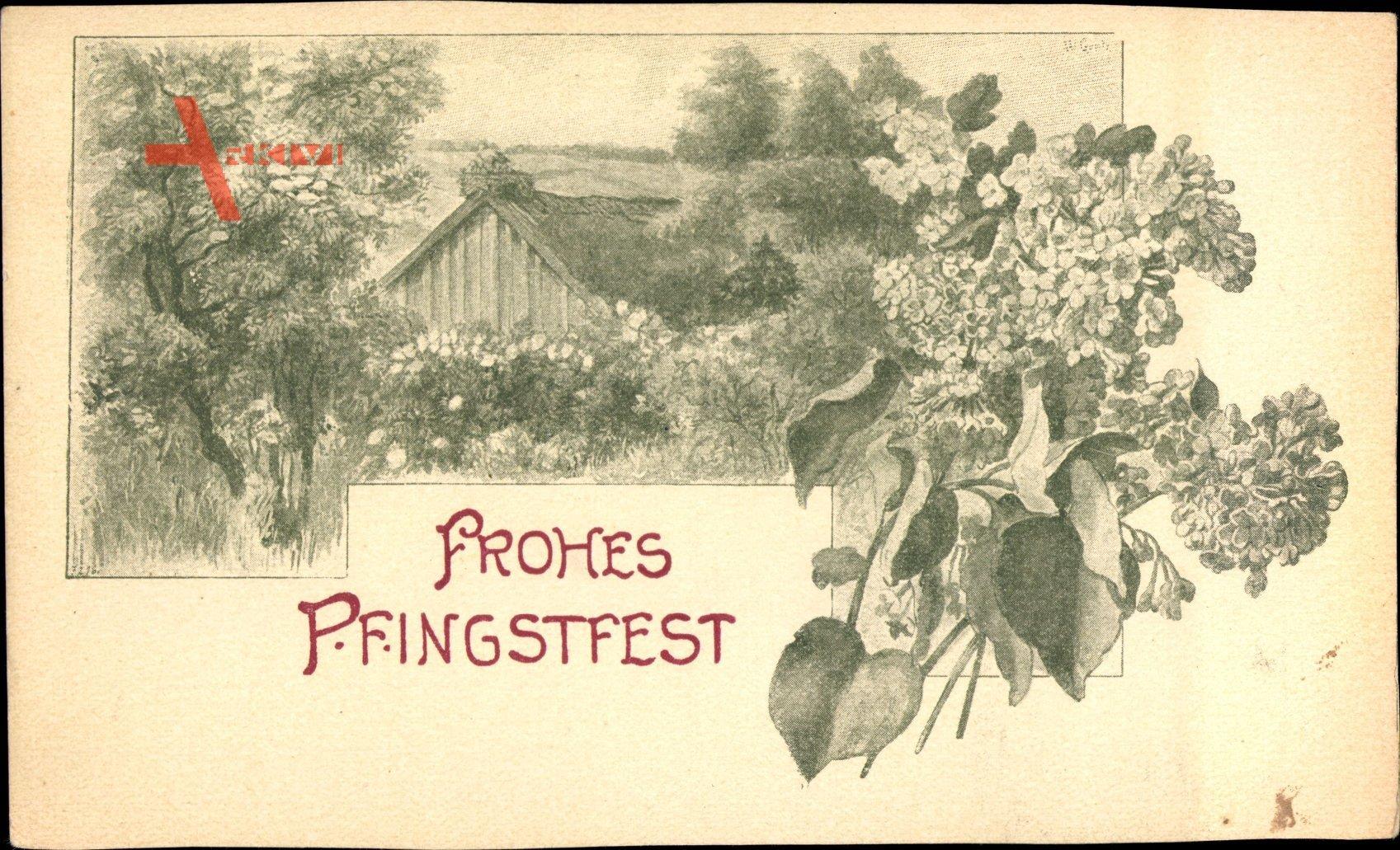 Glückwunsch Pfingsten, Holzhütte, Storchennest, Blumen