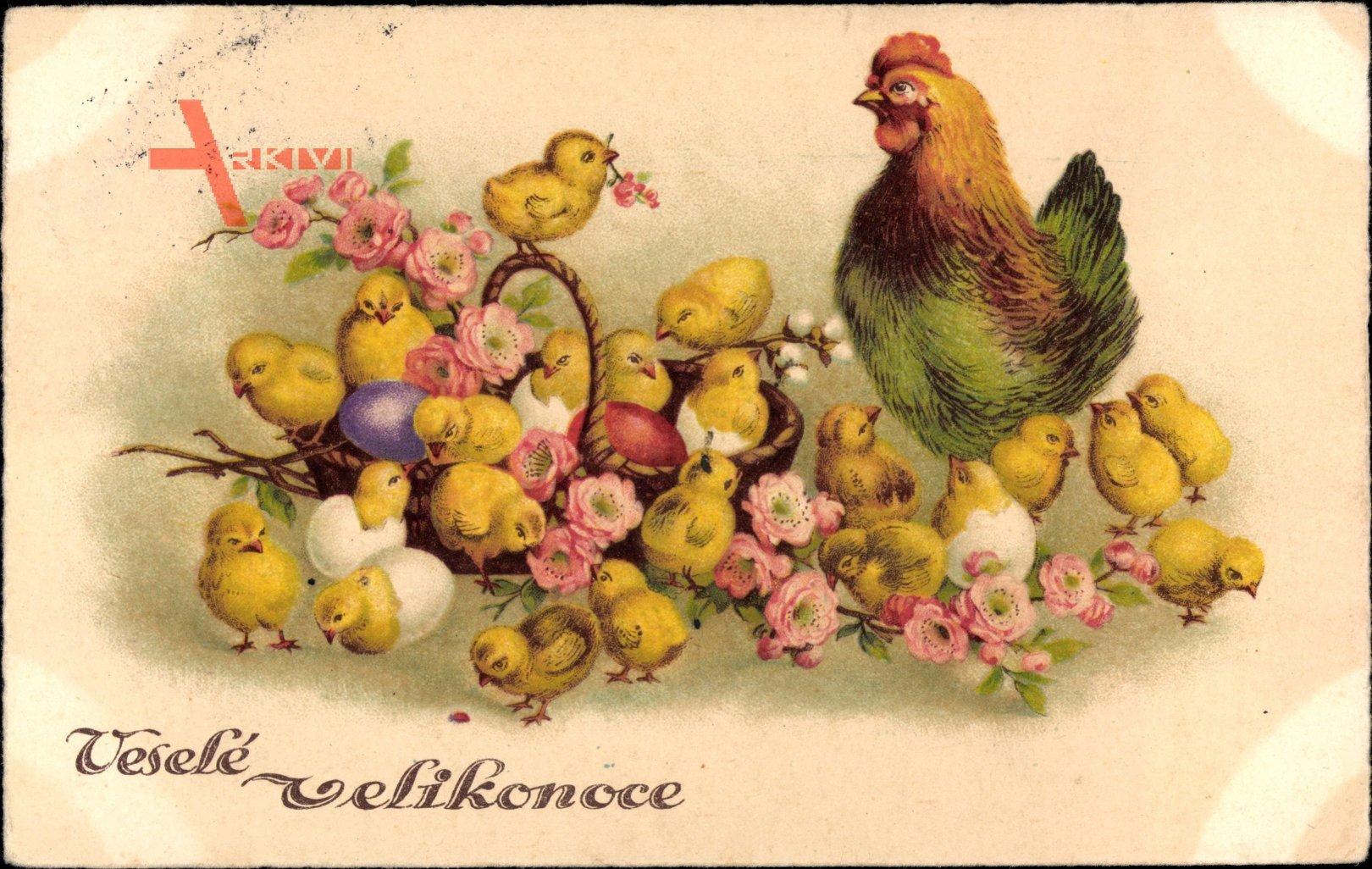 Glückwunsch Ostern, Vesele velikonoce, Küken, Henne, Ostereier, Tschechisch