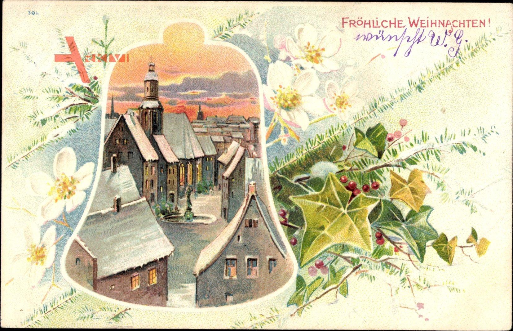 Passepartout Frohe Weihnachten, Ort im Schnee, Winteridyll