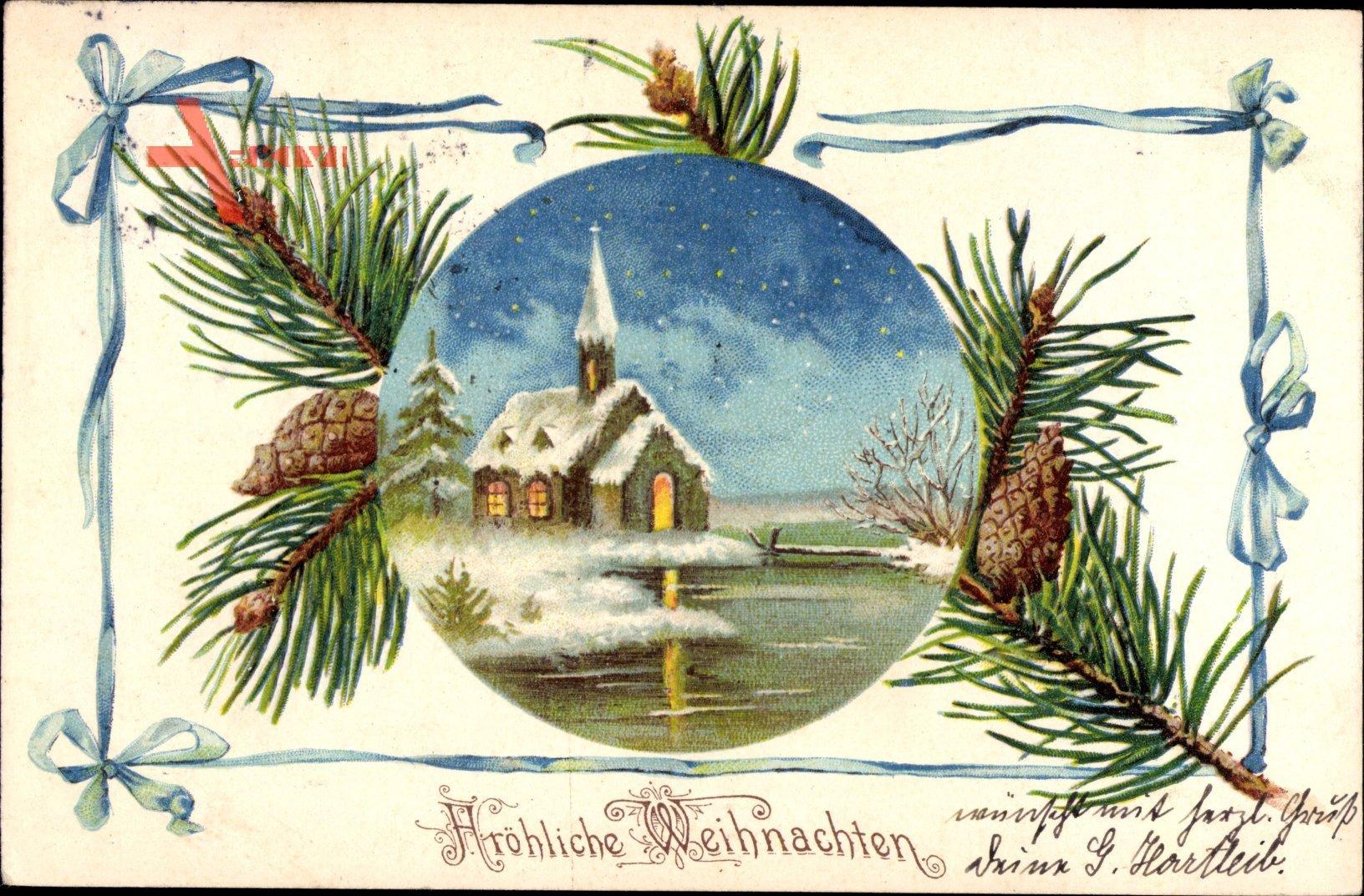 Passepartout Frohe Weihnachten, Kirche im Winter, Flussidylle