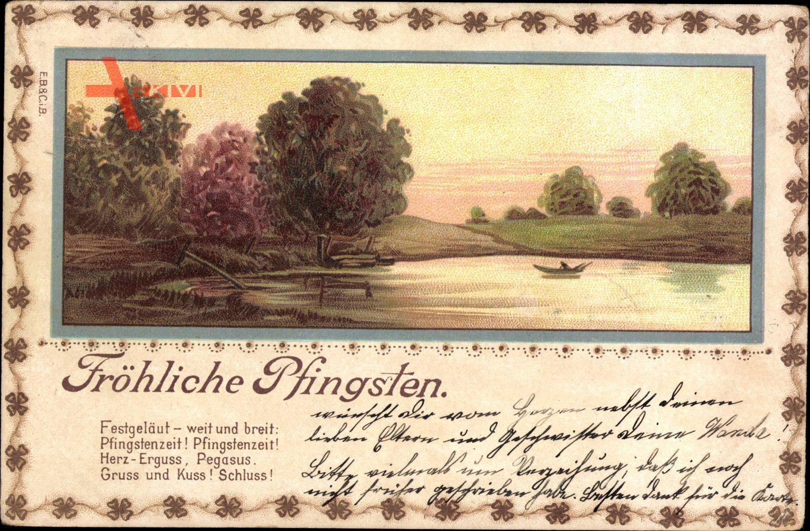 Passepartout Glückwunsch Pfingsten, Herbstlandschaft, Dämmerung, Teich