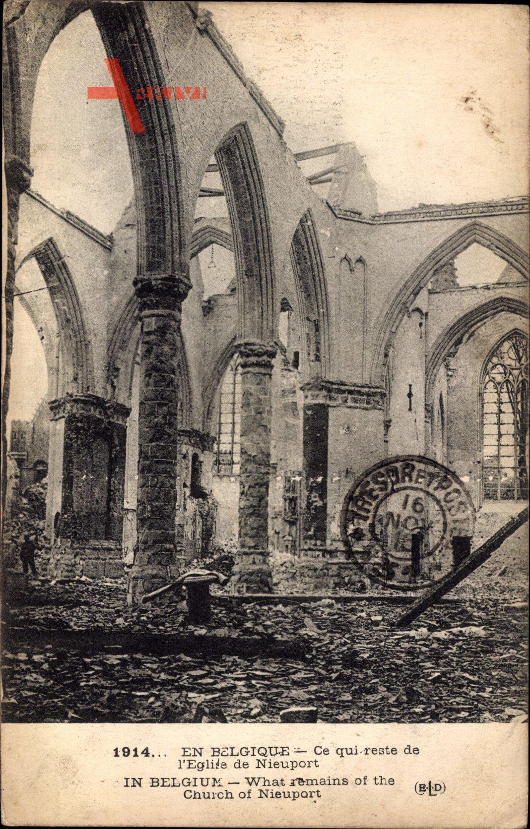 Nieuwpoort Westflandern, Kirchenruinen, Erster Weltkrieg