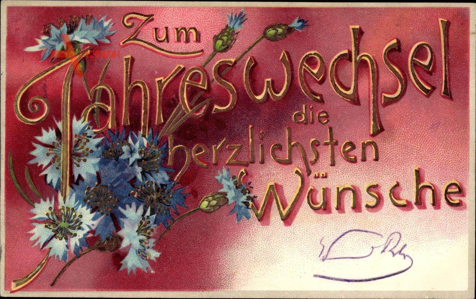 Glückwunsch Neujahr, Kornblumen, Kirsch