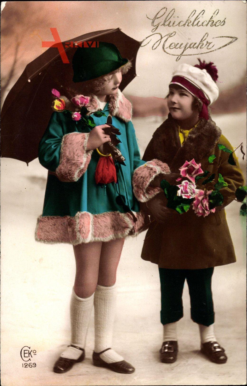 Glückwunsch Neujahr, Zwei kleine Mädchen, Regenschirm, BLumen