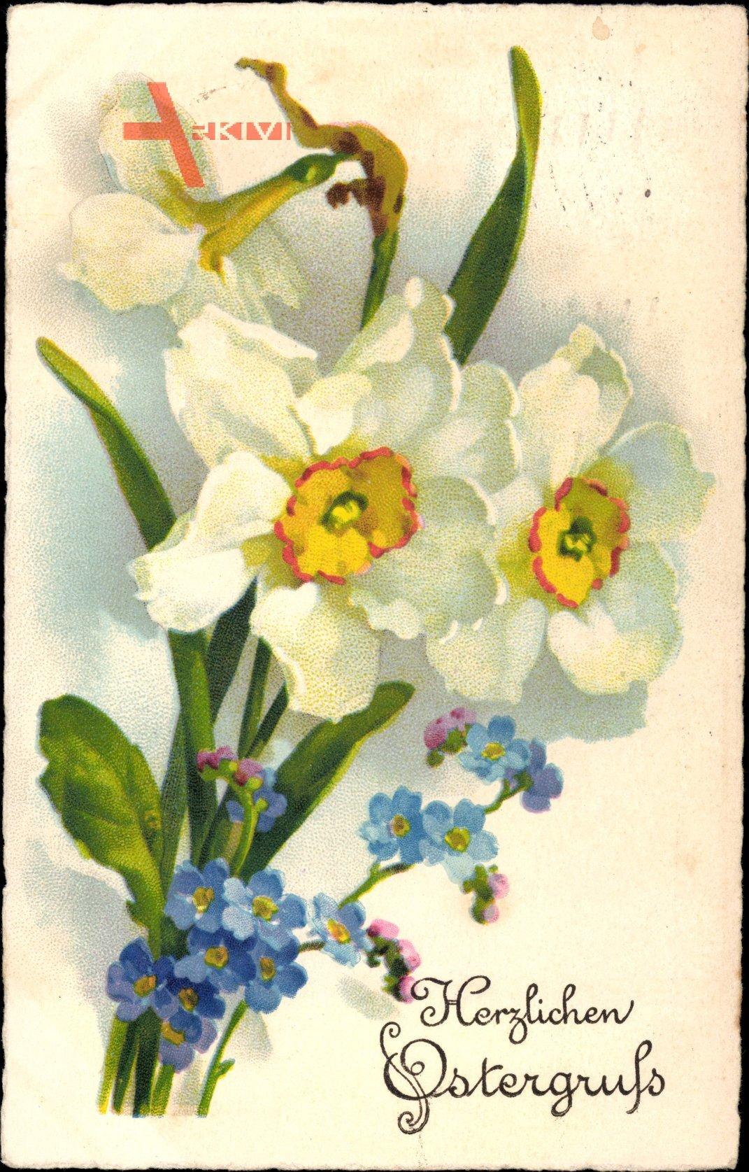 Glückwunsch Ostern, Osterglocken, Vergissmeinnicht, Narzisse, EAS 678