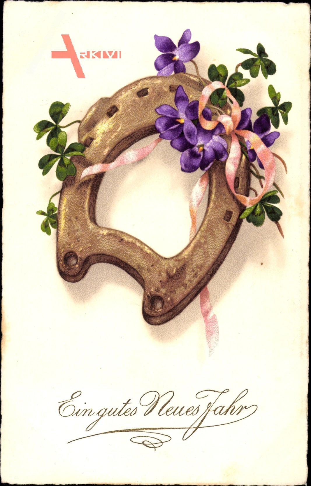 Glückwunsch Neujahr, Hufeisen, Kleeblätter, lila Blüten