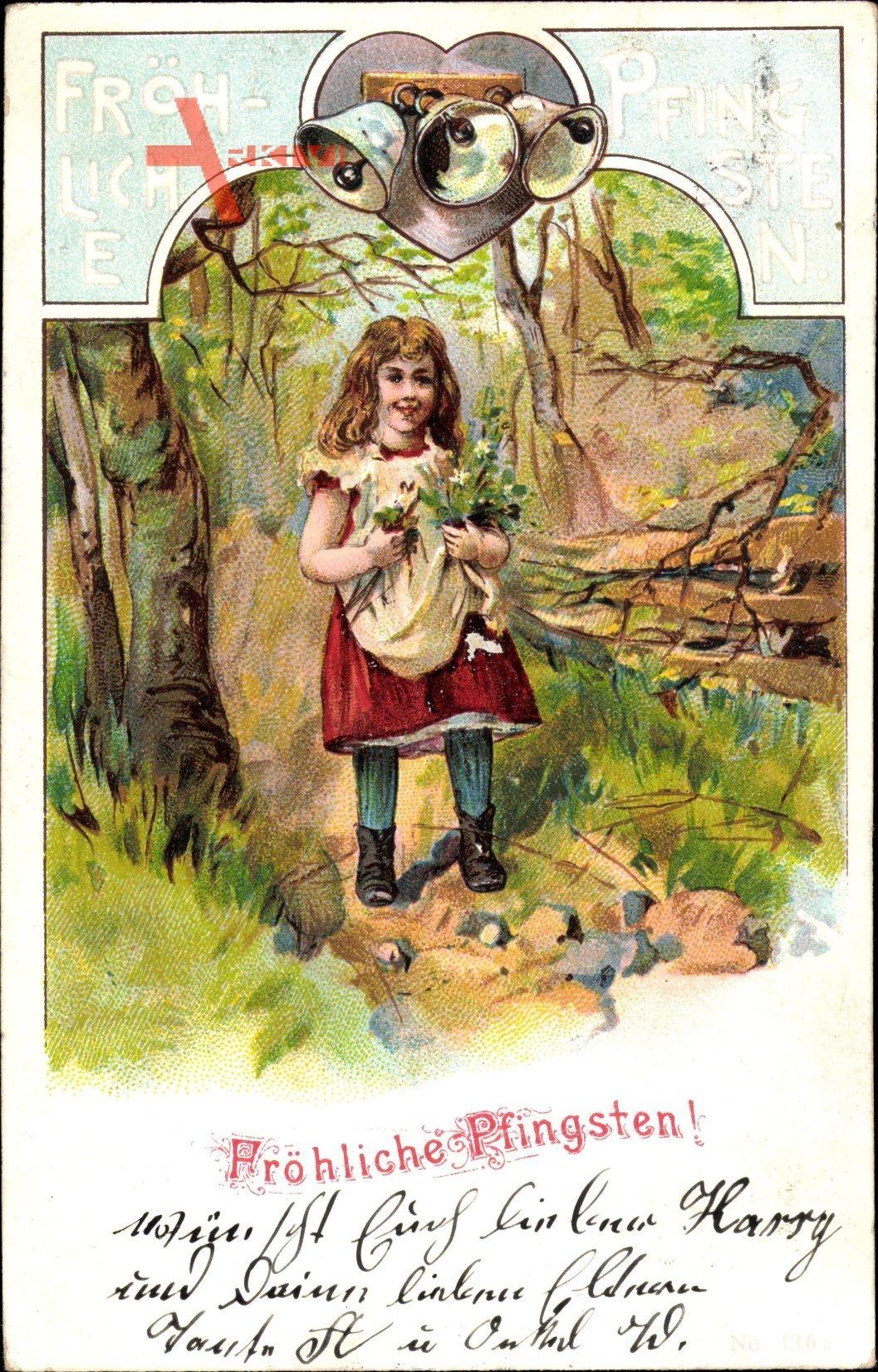 Glückwunsch Pfingsten, Glocken, kleines Mädchen mit Blumen