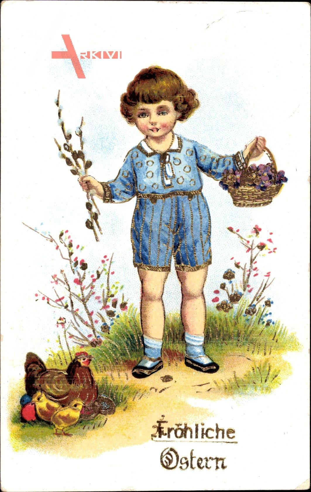 Glückwunsch Ostern, Kleiner Junge, Küken, Huhn, Ostereier