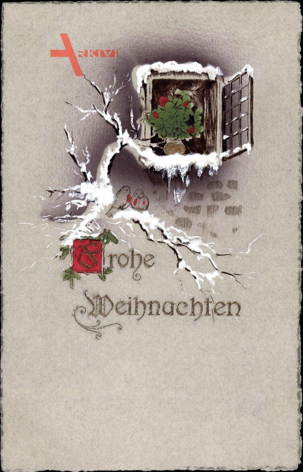 Glückwunsch Weihnachten, geöffnetes Fenster, Schnee, Kleeblätter