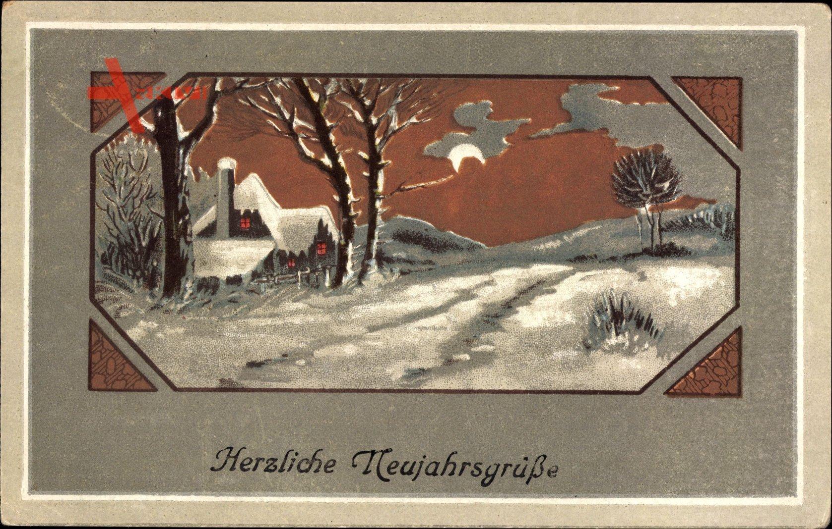Passepartout Glückwunsch Neujahr, Winterlandschaft, Mondschein