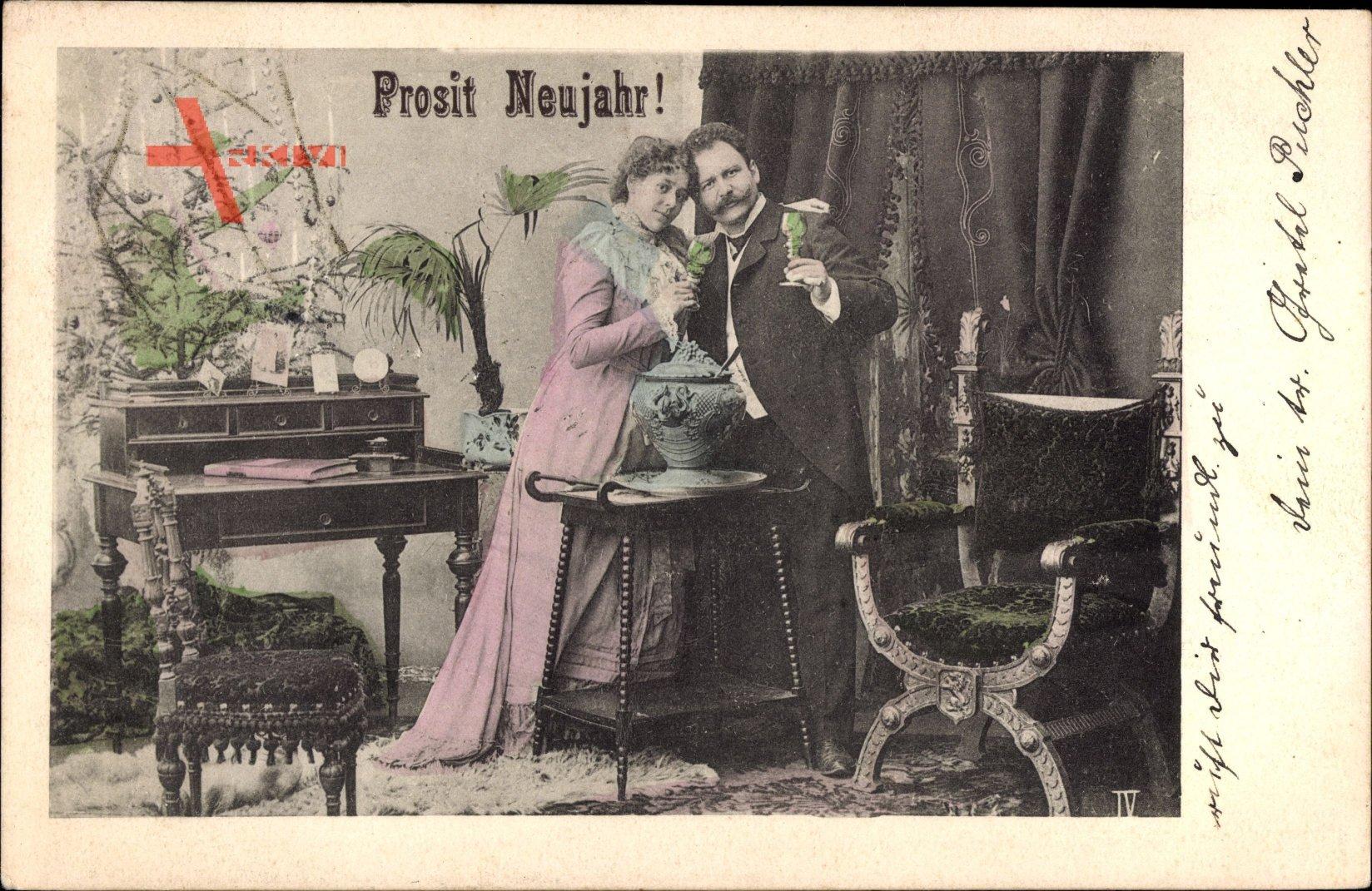 Glückwunsch Neujahr, Prosit, Mann und Frau mit Gläsern