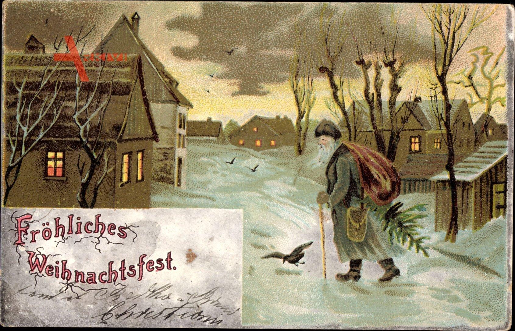 Glückwunsch Weihnachten, Weihnachtsmann mit Sack und Weihnachtsbaum