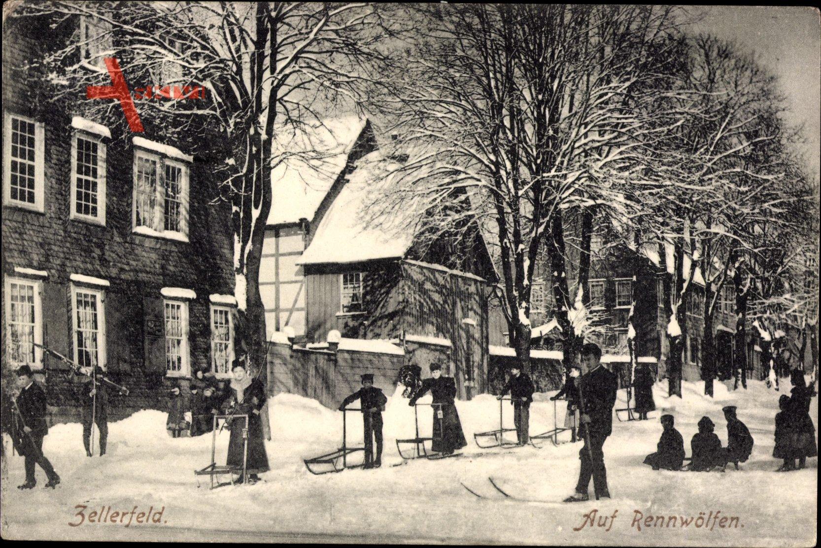 Clausthal Zellerfeld im Oberharz, Auf Rennwölfen, Schlitten, Winter, Ski