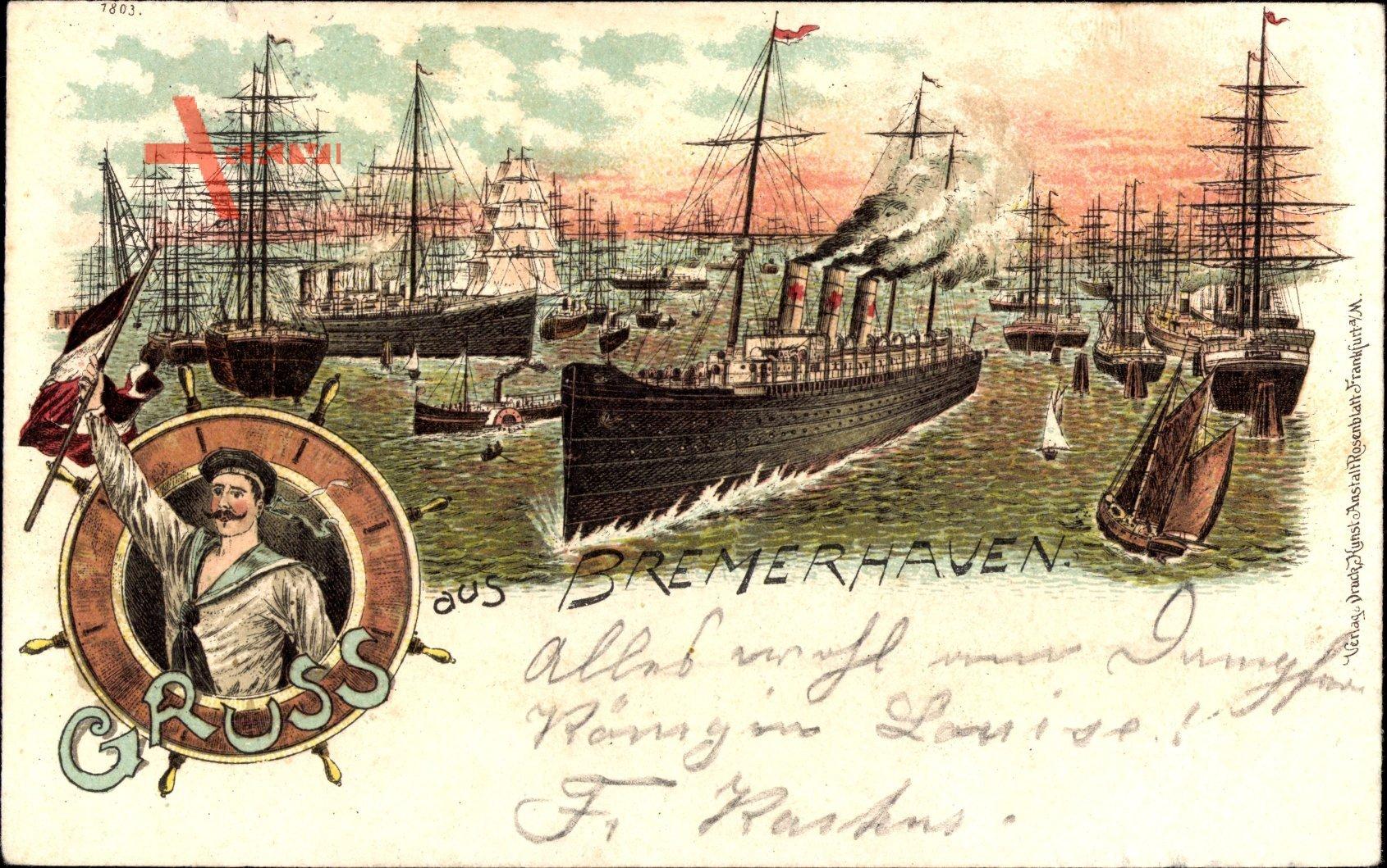 Bremerhaven, Dampfschiff in Fahrt, Segelschiffe, Matrose mit Fahne