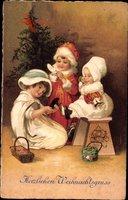 Frohe Weihnachten, Kinder am Tannenbaum, Geschenke