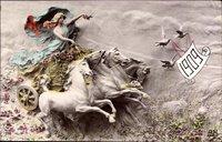 Glückwunsch Neujahr, Jahreszahl 1909, Pferdegespann, Tauben, Kitsch