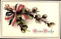 Glückwunsch Ostern, Weidenkätzchen, Schleife, Patriotik