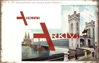 Köln Rhein, Eisenbahnbrücke, Denkmal Kaiser Wilhelm I, Passanten