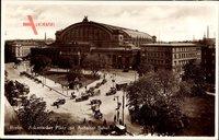 Berlin Kreuzberg, Askanischer Platz mit Anhalter Bahnhof, Autos, Kutschen