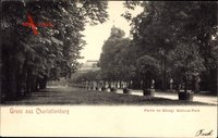 Berlin Charlottenburg, Partie im Königlichen Park, Weg, Büsten
