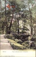 Berlin Tiergarten, Weg zur Rousseau Insel, Kanalpartie, Brücke