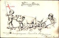 Glückwunsch Neujahr, Heureuse Annee, Schweine, Kinder, Kleeblätter
