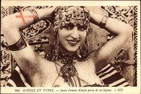 Scenes et Types, Jeune Femme Kabyle paree de ses bijous, Neurdein Frères 866