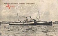 Gruß vom Postdampfer Kiel Korsör Prinz Sigismund, Fährschiff, Bäderdampfer