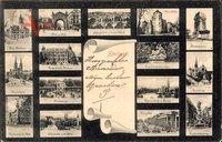 Stadtansichten von Stuttgart in Baden Württemberg um 1906  - neues Rathaus, Königstor, Bismarcksäule, Marienkirche