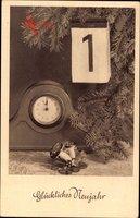 Glückwunsch Neujahr, Uhr, Kalenderblatt, Fliegenpilze, Kleeblätter
