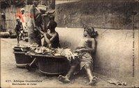 Afrique Occidentale, marchandes de Colas, Händler, Barbusige Frau